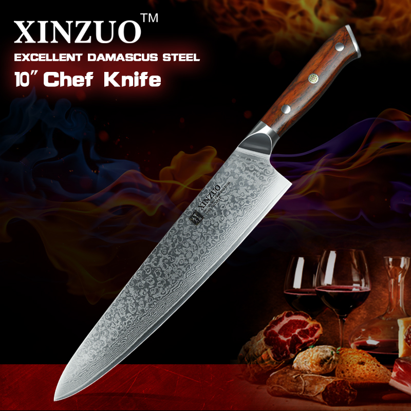 xinzuo 10 chef knives professional gyotou knife damascus steel kitchen knife with rosewood. Black Bedroom Furniture Sets. Home Design Ideas