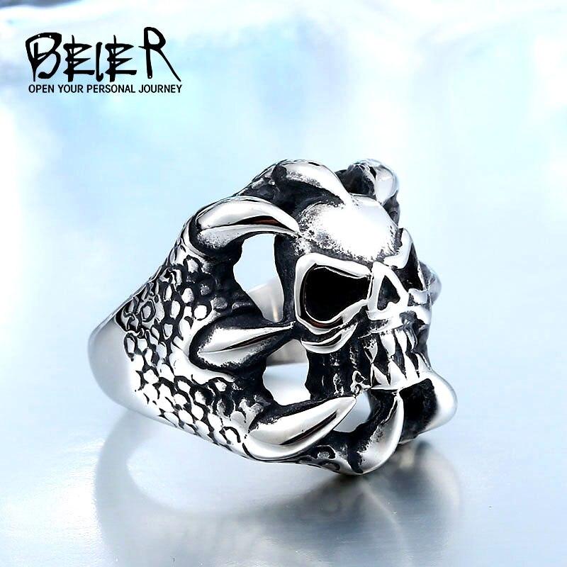 BEIER yeni kafatası yüzük erkekler için paslanmaz çelik serin erkek Biker moda takı dropshipping benzersiz BR-Q015