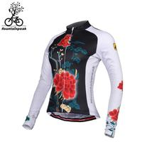 2018 New Arrival Women Cycling Jerseys Rose Print Riding Jersey Long Sleeve Coat Sports Quick Dry Windproof Bicycle Jerseys