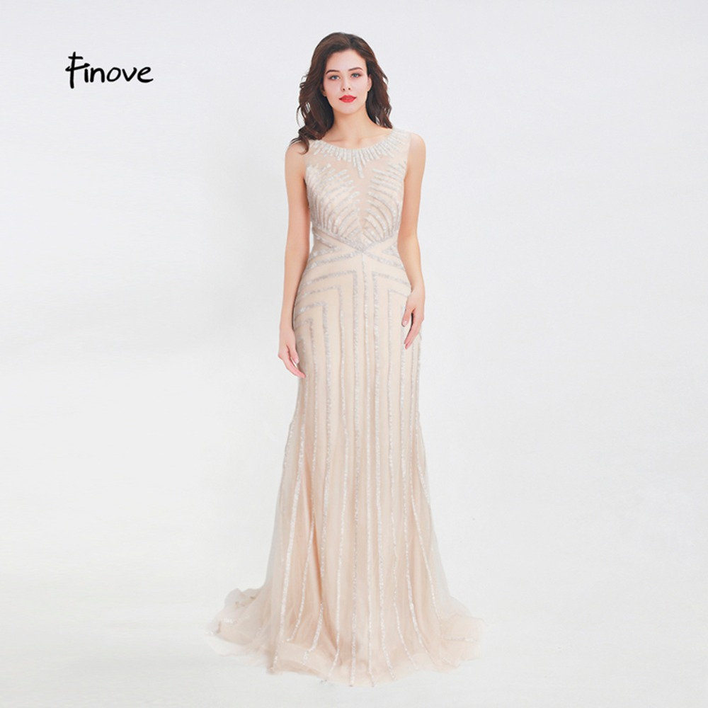 Finove Beading Long Evening Dress 2019 Sexy Illusion O-Neck See Through Back Mermaid Floor Length Party Dress Formal Dress Gowns