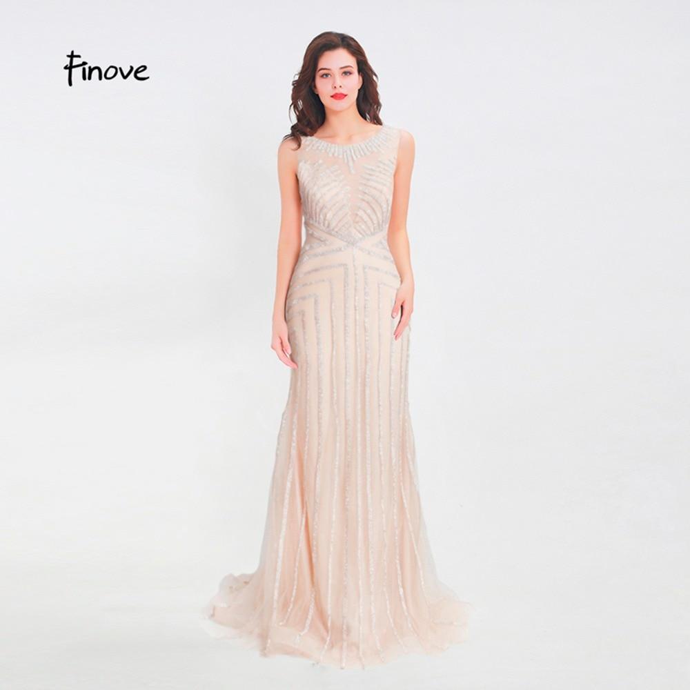 Finove Beading Long Evening Dress 2019 Sexy Illusion O Neck See Through Back Mermaid Floor Length