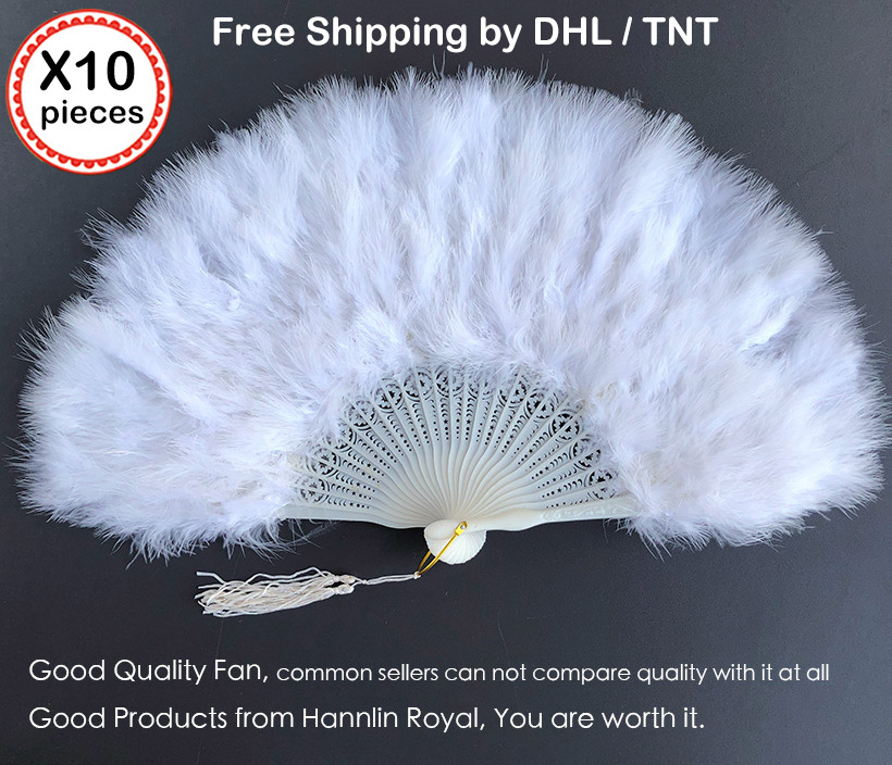 10 pieces per Lot fluffy feather African hand folding Lady fan rocking Dance Fans for Party