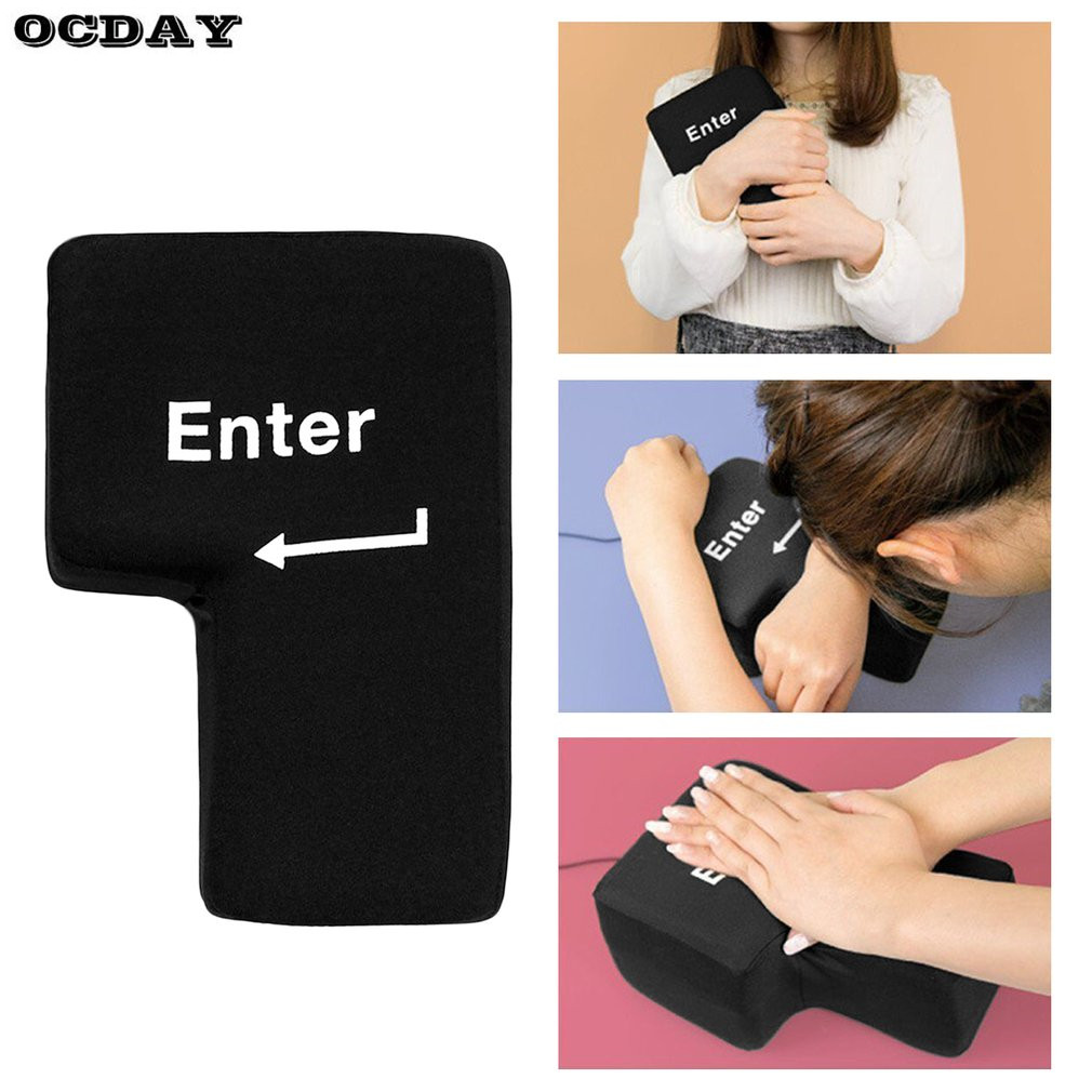 Black Portable Decompression USB Big Enter Key New Pillow Soft Computer Button Return Pillow Offices Vent Toys stress Relief Toy