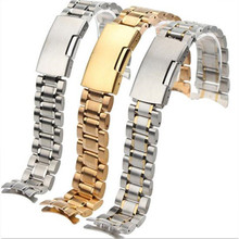 Free Shipping Stainless Steel Solid Links Watch Band Strap Bracelet Curved End / Arc Degree 18/19/20/22mm + tool все цены