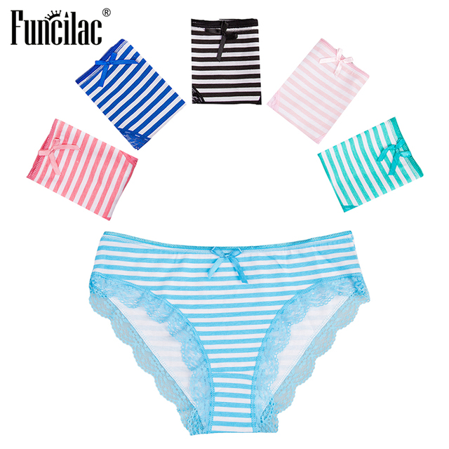 fce11185fbd FUNCILAC Women s Underwear Plus Size Striped Panties Print Sexy Ladies  Shorts Cotton Lace Briefs Girls Tanga