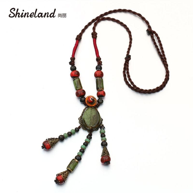 Shineland 2018 Hot Sale Women Fashion Charming Handmade Green Ceramic Beads Tassel Statement Pendant Necklace Jewelry For Women
