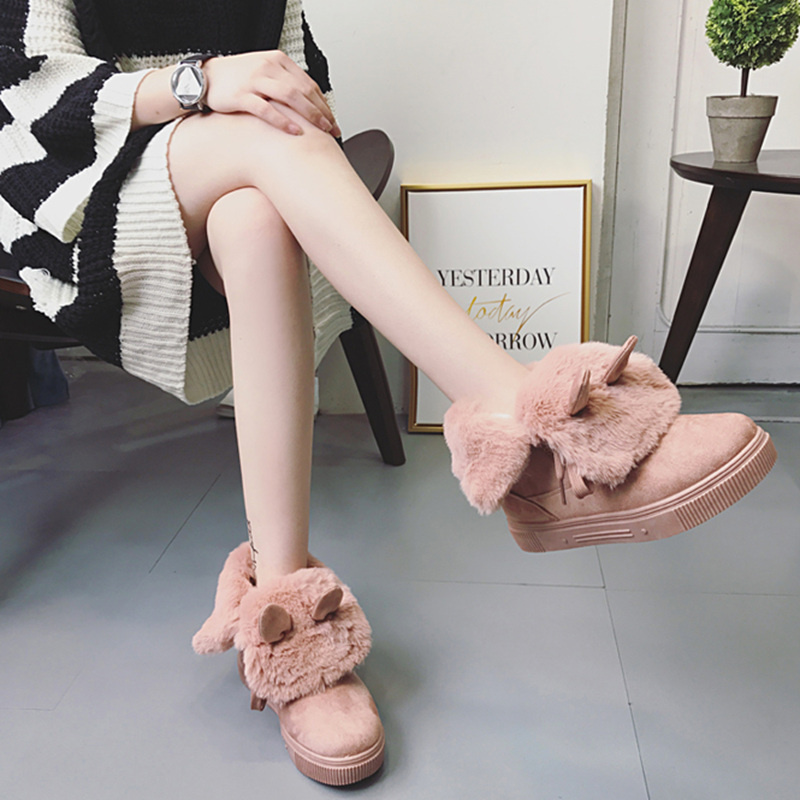 Women Winter Shoes Women's Ankle Boots Cut Rabbit Ears Flat Warm Woman Snow Boots Round Toe Botas Mujer Free Shipping ubz women snow boots winter warm flat bottomed large boots sheepskin leather boots botas mujer fur flat shoes free shipping