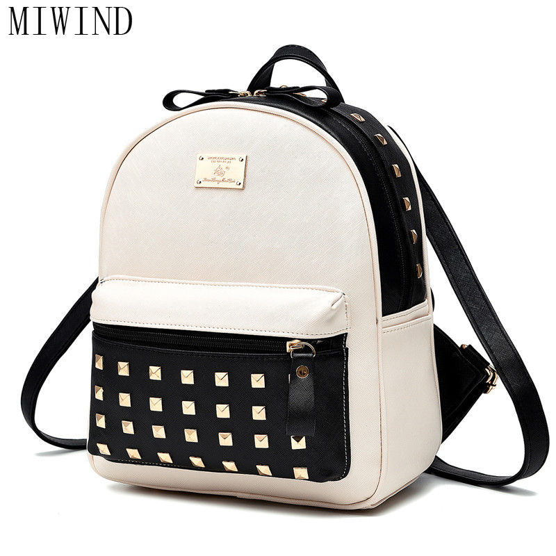 Women Backpack PU Leather Black and White Patchwork Backpacks Preppy Style School Backpack Rivet Women Bag  TTY848 women backpack fashion pvc faux leather turtle backpack leather bag women traveling antitheft backpack black white free shipping