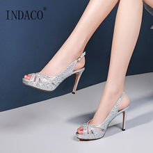 Summer Sandals 2019 New Fish Mouth Rhinestone High Heels Sandals Women Platform Wedding Shoes Gold Sliver Party Shoes 9cm new arrival luxury princess slipper ab color rhinestone wedding shoes high heels platform shoes women s wedding shoes