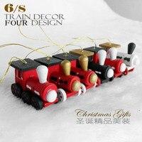 Arbre de noël décorations Peint Bois Train tête nouvelle année Décoration pour la maison fenêtre De Noël kid jouets cadeau ornement navida 2017