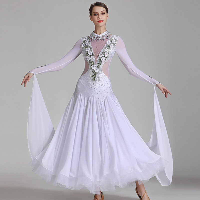 Plus Size Ballroom Dance Costume Rumba Dress Dance Competition Costume Foxtrot Dance Dress White Ballroom Dress Tango Costume