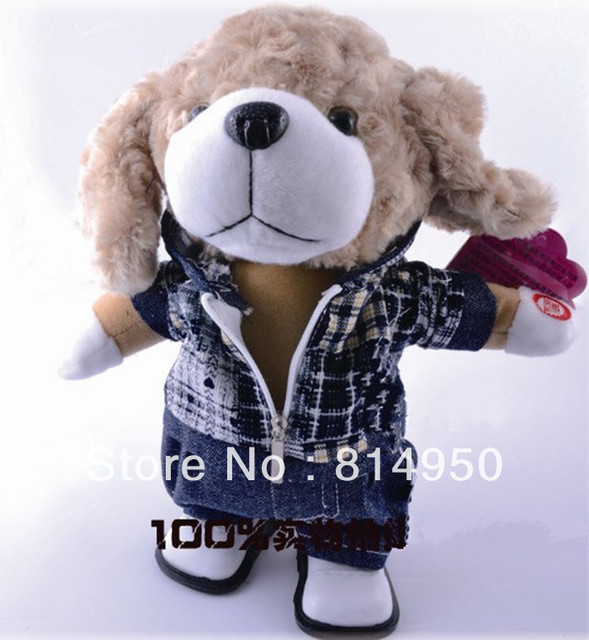 2013 Lovely Animal Dog Multi-fonction Music Plush Walk Clothing Dolls  Baby Early Educational Electronic Pets Toys Children Gift