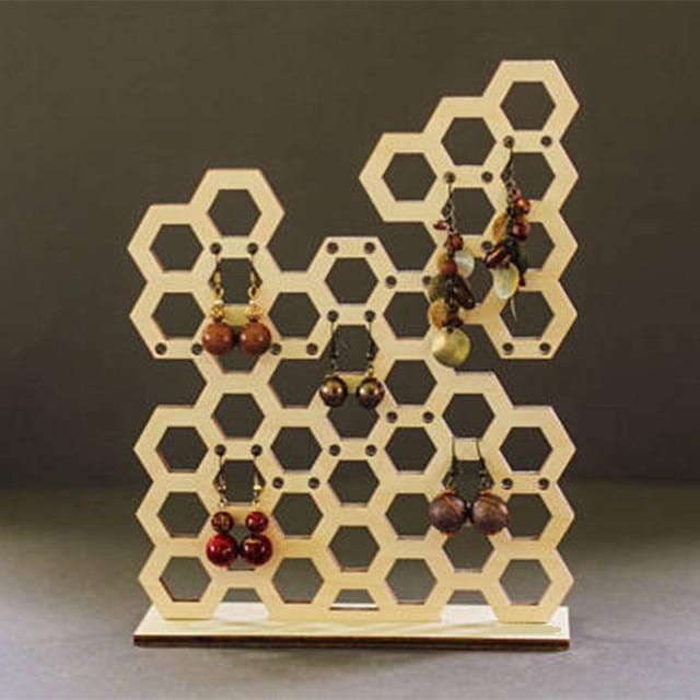 Laser Cut Wooden Honeycomb Shape Jewelry Organizer Holder Bee