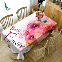 3d Beautiful Pink Flowers Pattern Round Tablecloth Washable Polyester Cloth Rectangular Table Wedding Banquet Decoration