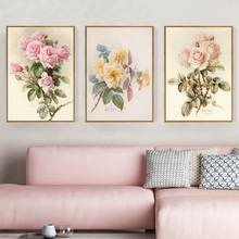European Retro Flower Posters and Prints Home Decoration Wall Art Pictures for Living Room Nostalgic Pastoral Canvas Painting