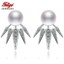 New design Natural Pearl Stud Earring for Women 8-9mm White Freshwater Pearl Earrings 925 Sterling Silver Fine Jewelry Earrings