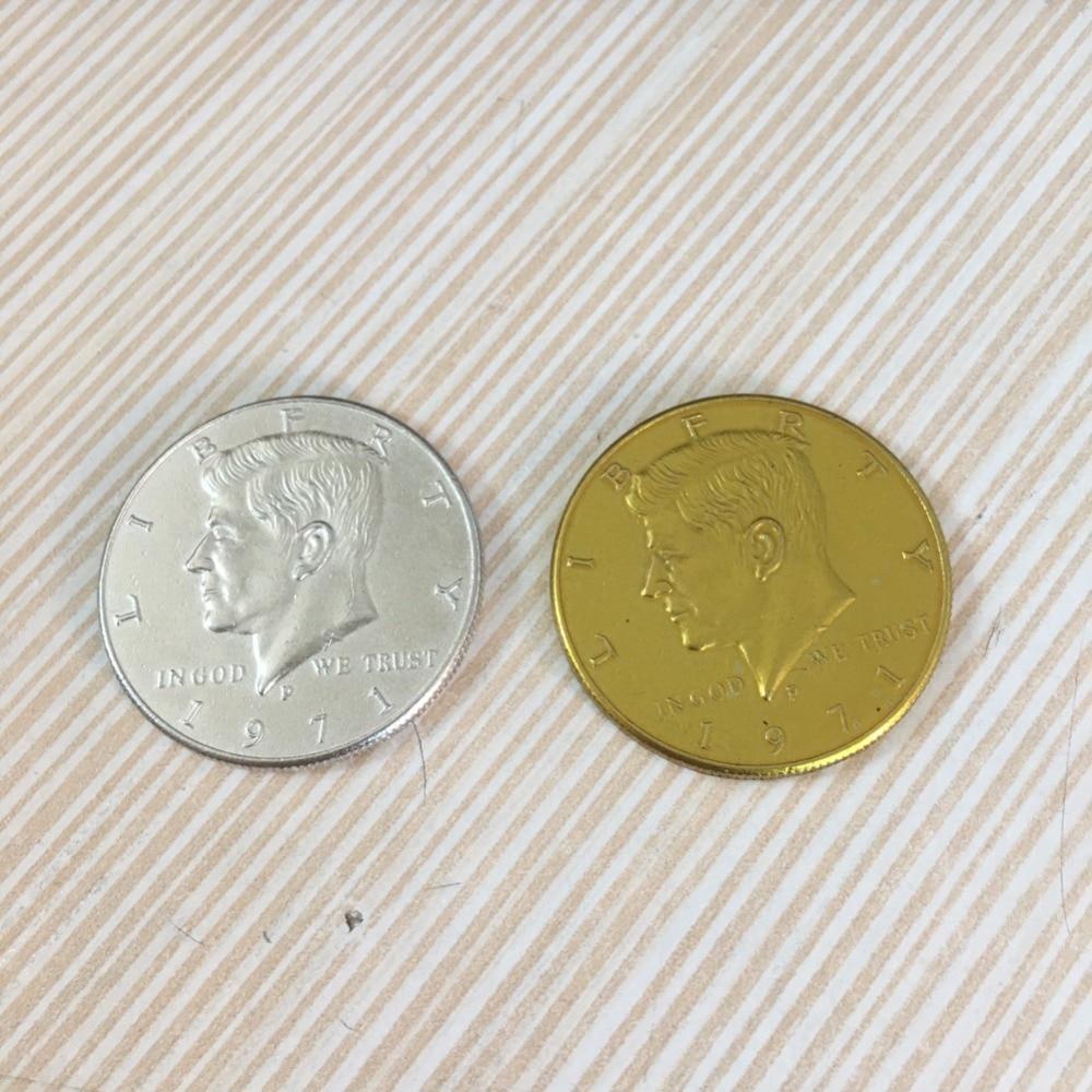 1pcs Half Dollar Coin Magic Tricks Copy Style Not Real Coin Magician Gimmick