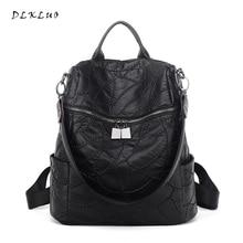 Dlkluo мода двойной молнии женские кожаный рюкзак мягкие и водостойкий овчины сумки Бесплатная доставка большой емкости дорожная сумка