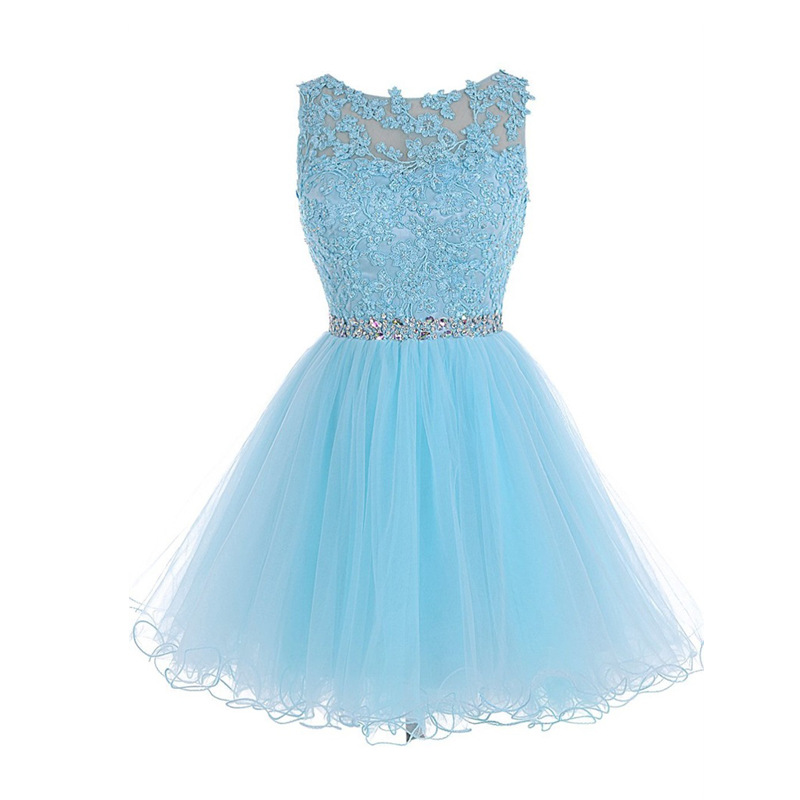 Short Homecoming Dresses 2019 Scoop Sleeveless Cover Back Tulle with Crystal Cocktail Dress 2019 Short Prom Dress Party Gowns
