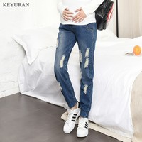 Holes Maternity Jeans Pregnancy Clothes Spring New Loose Straight Denim Full Pants Trousers Clothing For Pregnant Women Y066