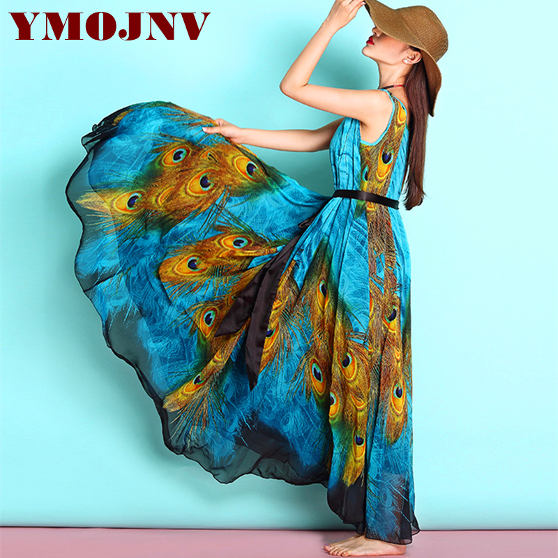 YMOJNV Summer Dress Women New Sundress Bohemia Style Long Beach Dress Sexy V Neck Sleeveless Peacock Feather Print Chiffon Dress sexy women s plunging neck peacock print sleeveless dress