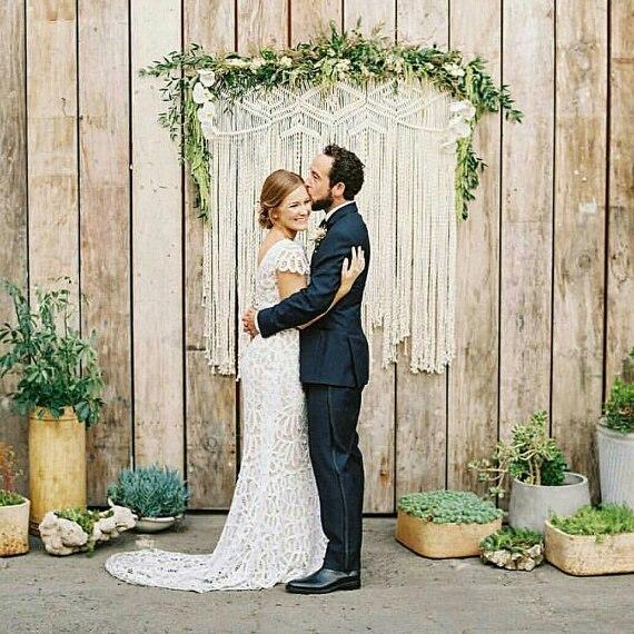 122 cm x 127 cm Grand Macramé, bohème de mariage toile de fond, tissage, mur décor. dans Partie BRICOLAGE Décorations de Maison & Jardin
