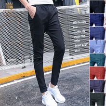 Fanzhuan 2017 Free Shipping New Male fashion casual men's Slim Pencil Ninth pants trousers Elastic waist 718153 thin pinkycolor