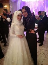 Long Sleeve White Islamic Wedding Gowns Robe Oriental Arabe Lace Muslim Bridal Dress Hijab Wedding Dress Ship by Aramex DHL