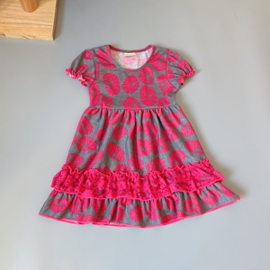 Image 3 - Grey, rose red,lotus girls dress Outfits Infants and Children dresses  soft Ruffle flower frocks for kids kids boutique clothing