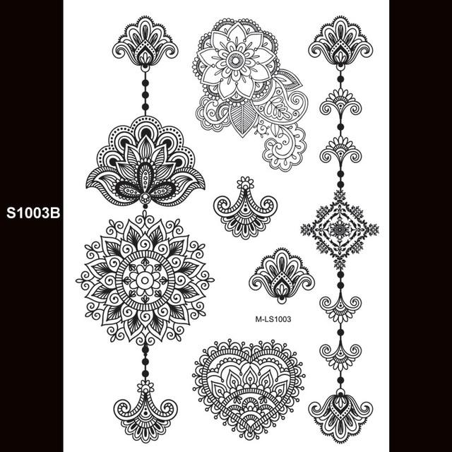 20x15cm Big Tattoo Sticker Sexy Henna Female Black Lace Bride Temporary Flash Tattoo Stickers Body Art Flowers S1003B