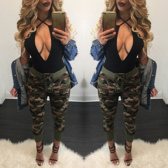 Y1202-45C 2016 Summer camouflage pants women Camouflage Cargo pants women Military fashion Casual Loose Harem pants