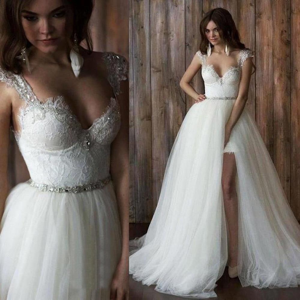 Robe de mariee courte devant longue derriere aliexpress