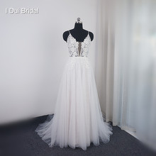 A line Muse Wedding Dress Lace Appliqued Deep V Neckline Beaded New Bridal Gown Real Photo(China)