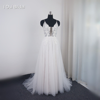 A line Muse Wedding Dress Lace Appliqued Deep V Neckline Beaded New Bridal Gown Real Photo