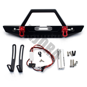 Image 4 - INJORA 1:10 RC Crawler Metal Front & Rear Bumper with Lights for 1/10 Axial SCX10 90046 RC Car