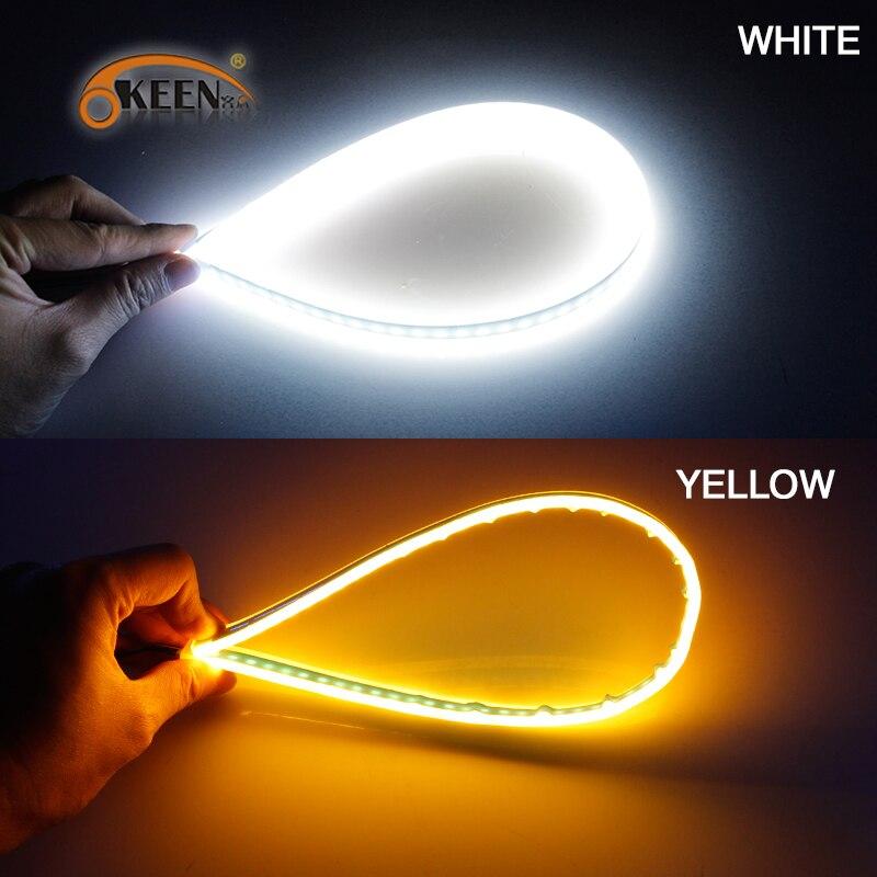 OKEEN 2pcs Waterproof Flexible Universal Car LED DRL Daytime Running Light Flow Runs Headlight LED Strip Brake Turn Signal Light 4