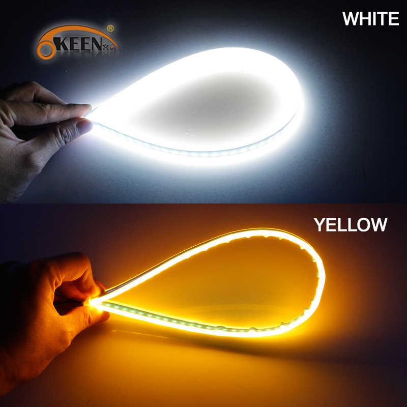 Oken 2 قطعة متناهية الصغر DRL 60 سنتيمتر النهار تشغيل ضوء مرنة لينة أنبوب دليل سيارة LED قطاع الأبيض الأصفر بدوره مصباح إشارة شرائط