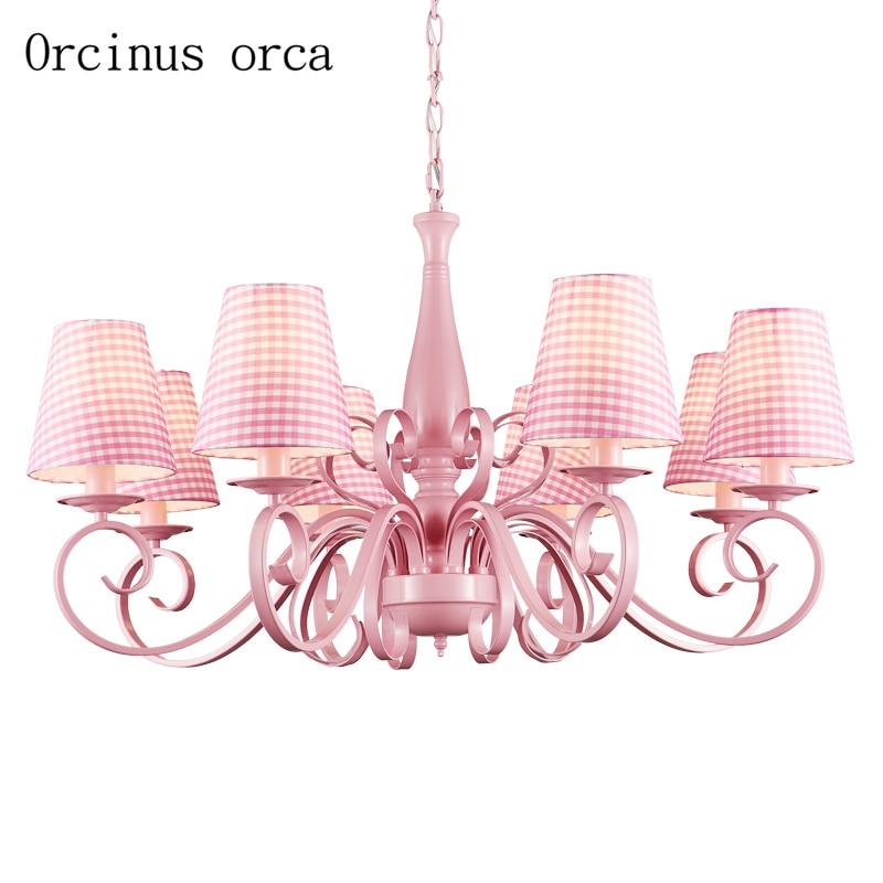 Modern simple pink cute chandelier Girl Princess bedroom ...