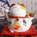 4-дюймовая керамическая статуэтка Maneki Neko  счастливый кот  копилка  Фортуна  украшения