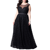 2018 5XL Plus Big Size Dress Women High quality Lace Evening Party Dress Tall waist character Net yarn Solid color Sexy Vestido