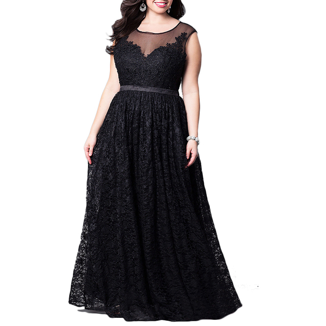 Plus Size 5XL Dress Women High quality Lace Evening Party Dress Tall ...