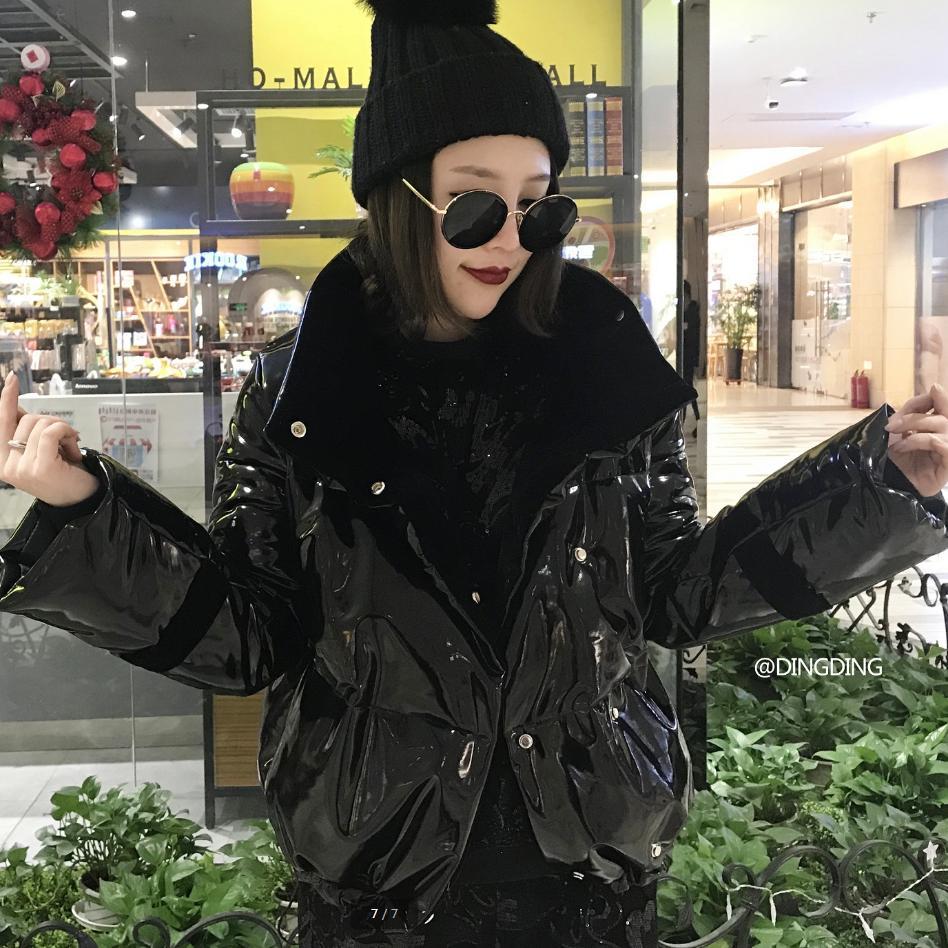 Veste Parkas Brillant Outwear Verni De Manteau Mode L912 Rembourré D'hiver Coton Noir 2018 Black Pain Femmes En Femelle Cuir Bas OY1qxB4wIT