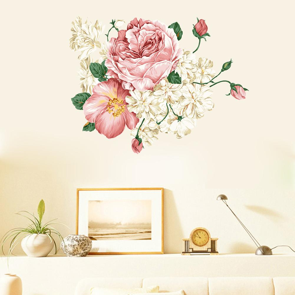 3d new beautiful peony flower sticker wall decals for kid room bedroom living room decorative for Beautiful wall stickers for living room