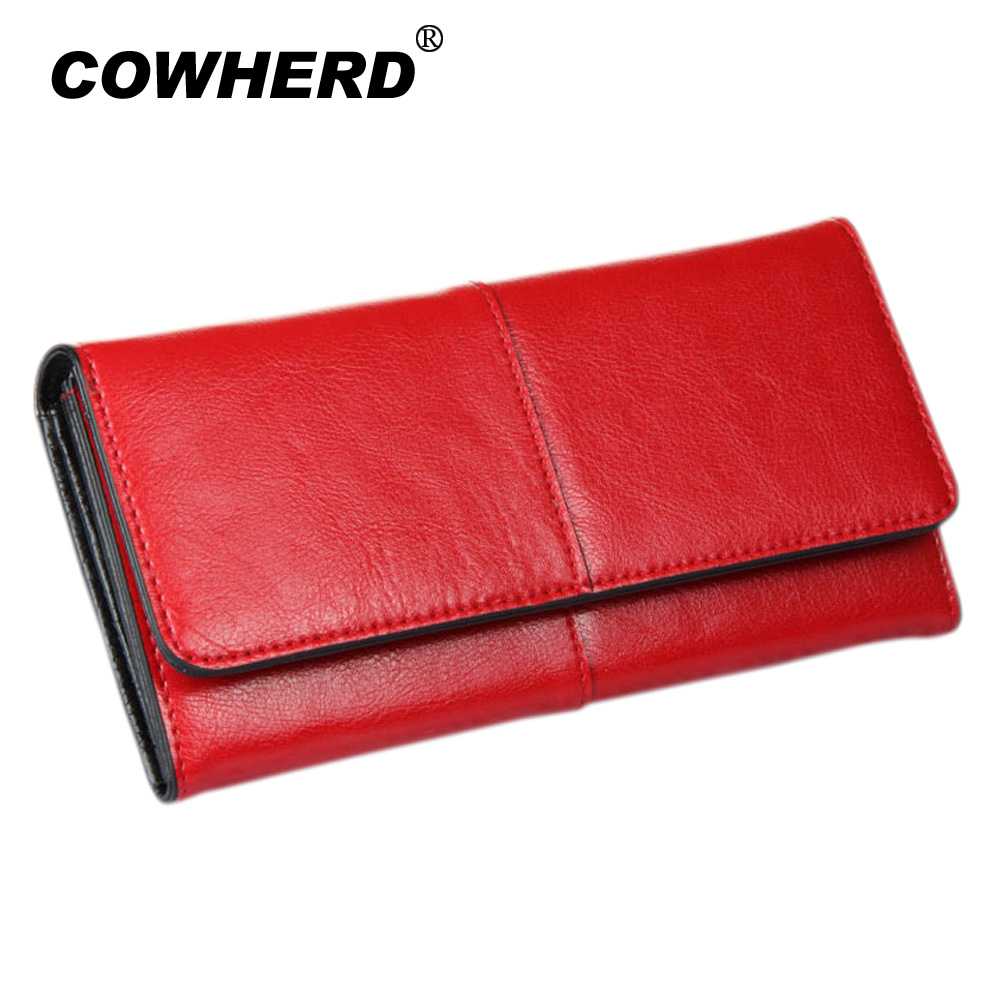 COWHERD Women Clutch Wallets 100% Genuine Cow Leather Wallet Fashion Patchwork Lady Red Long Wallet Elegant Female Purse Bag fashion women lady faux leather handbag clutch envelope evening bag wallet purse party retro sexy elegant long solid wallet