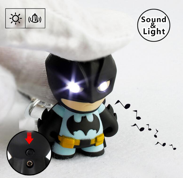 1pcs The Avengers Batman LED Flashlight Action Figure Toys With Sound Keychains Gifts new hot 17cm avengers thor action figure toys collection christmas gift doll with box j h a c g