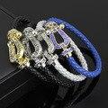 bracelet luxury brand jewellry bijoux fred bracelet with colorful stone zircon cz leather bracelet with magnetic clasp for women