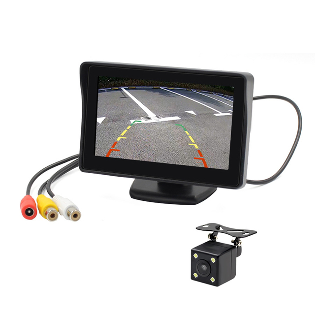 4.3 Inch Car TFT LCD Monitor with 480*280 Screen Support Connect Rear View Backup Camera Two way video input V1 V2