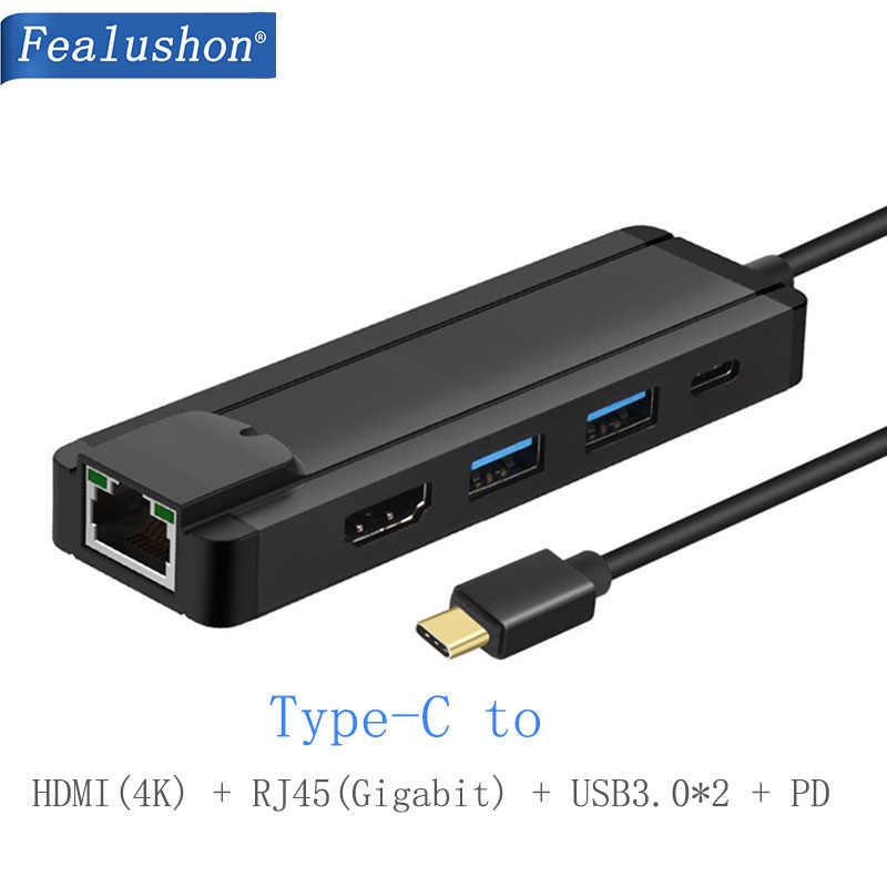 Fealushon ドッキングステーション Hdmi タイプ C USB3.0 RJ45 ギガビット PD ハブの Macbook Air PRO の HP 、デル表面レノボサムスンドック