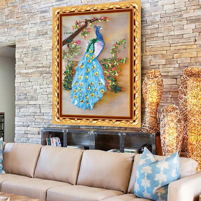 DIY Ribbon Embroidery Peacock Decorative Paintings Needlework Kits Cross  Stitch Crafts Wall Art Living Room Decoration C 0202 In Embroidery From  Home ...