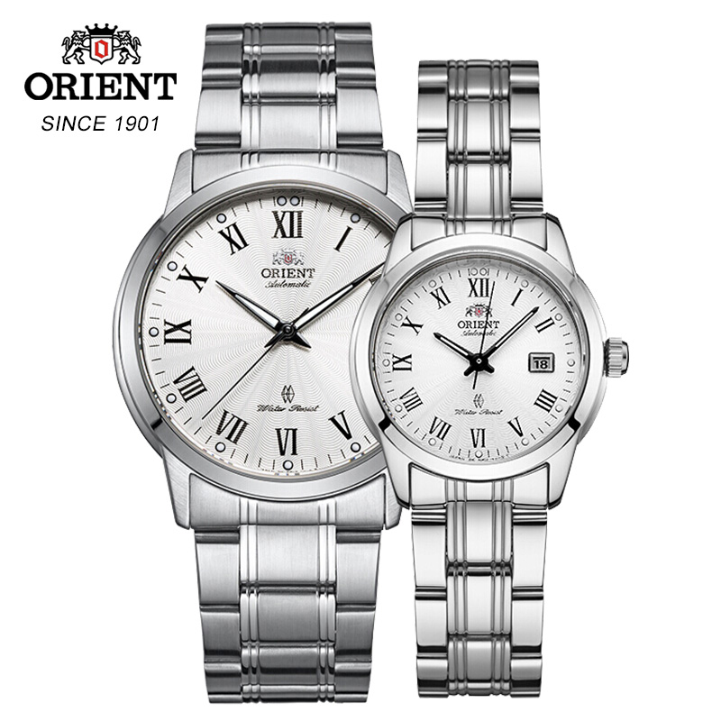 100% Original ORIENT Couple Watch Automatic Mechanical Watch Stainless Steel Straps Calendar